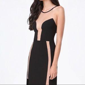 BeBe Mesh Inset Black Maxi Dress